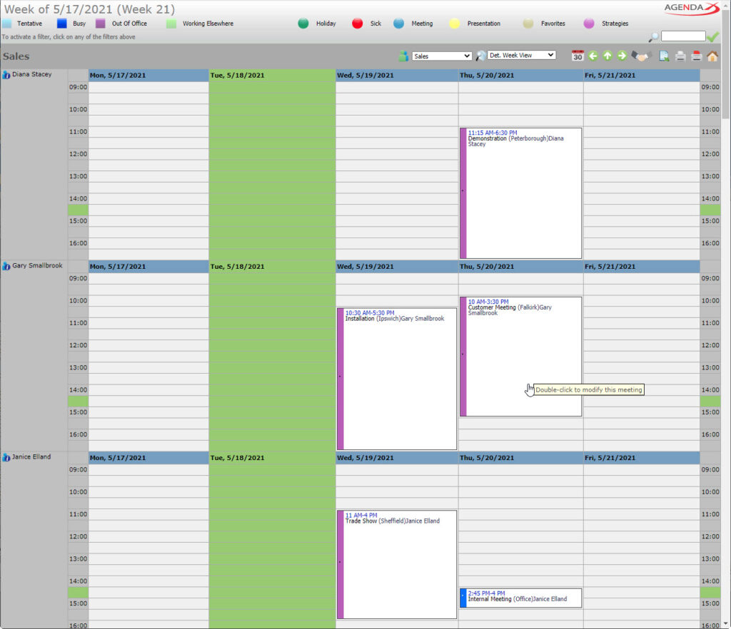 AgendaX group calendar weekly view showing appointments of multiple employees similar to Outlook