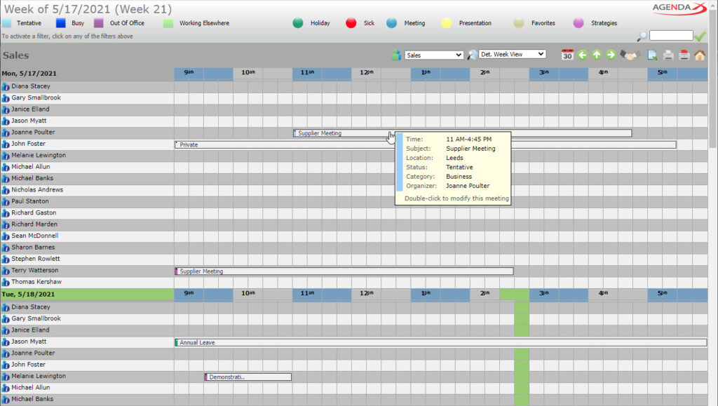 AgendaX group calendar weekly view showing appointments of multiple employees in a quarter hour grid