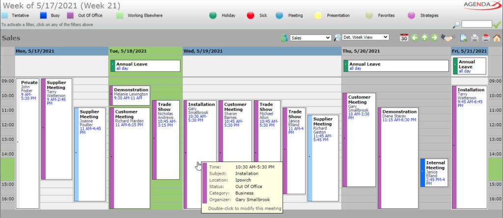 AgendaX group calendar weekly view showing appointments of multiple employees with colored vertical bars