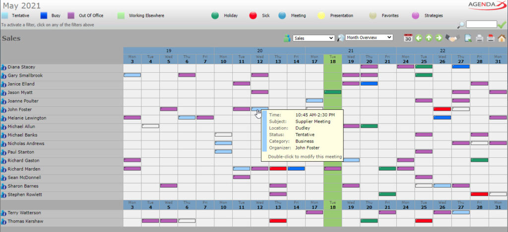 AgendaX group calendar monthly view showing appointments of multiple employees with colored blocks