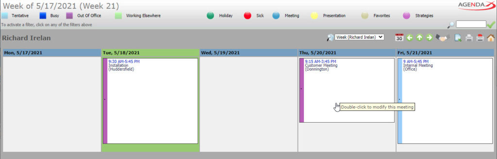 AgendaX group calendar user specific view showing the weekly schedule of a single employee. Meeting details are shown in colored text boxes.