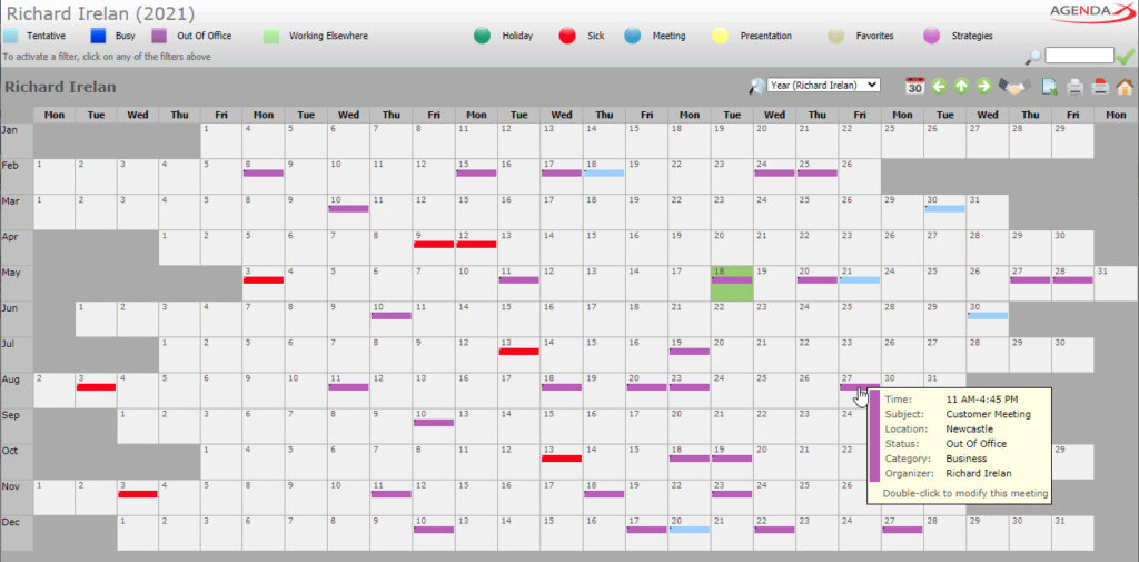 AgendaX group calendar user specific view showing the yearly schedule of a single employee. Meetings are represented by colored blocks. Meeting details are shown when hovering over the blocks. Days of a month are arranged horizontally while months show vertically.