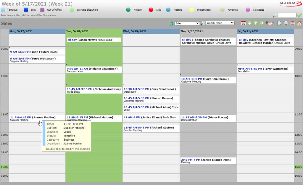 AgendaX group calendar weekly report showing appointments of multiple employees grouped by meeting start