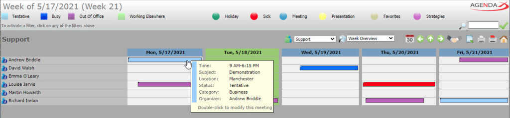 AgendaX group calendar weekly view showing appointments with colored bars