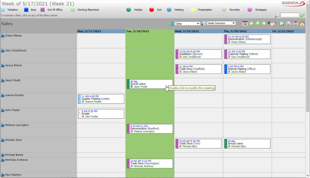 AgendaX group calendar weekly view showing appointments in colored boxes including meeting details