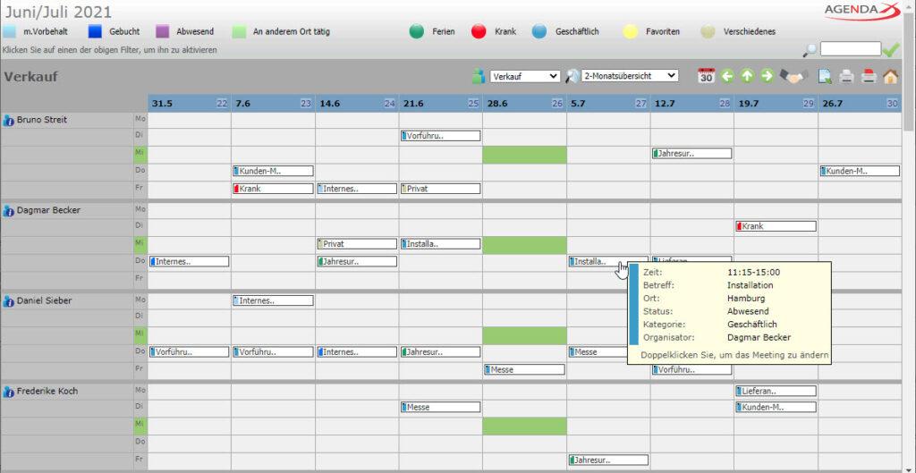 AgendaX Gruppenkalender 2- Monatsansicht zeigt Termine mehrerer Mitarbeiter, Wochentage werden vertikal pro Mitarbeiter dargestellt, Wochen horizontal