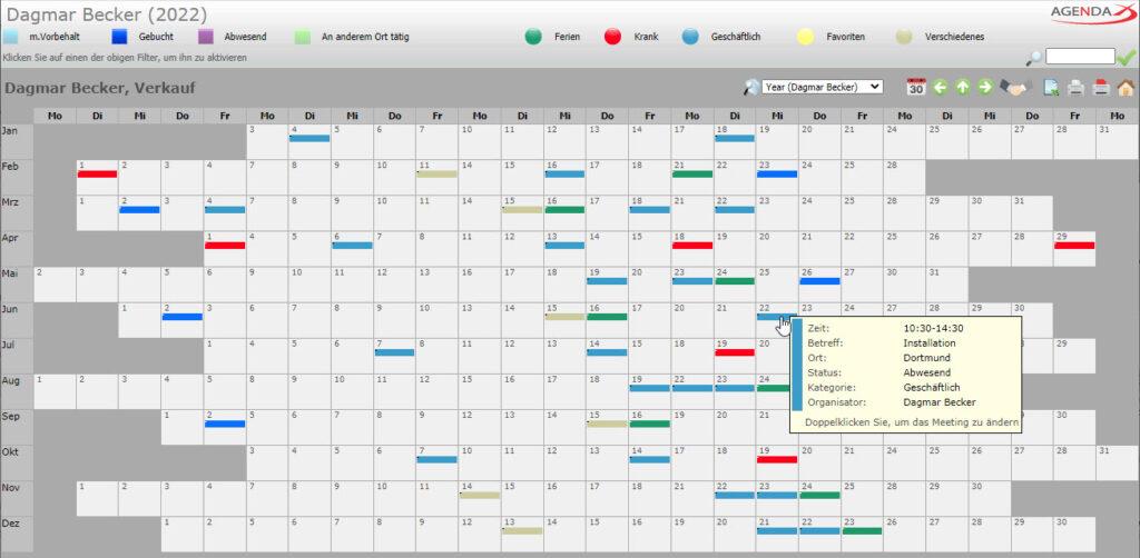 AgendaX Gruppenkalender Benutzerspezifische Jahresansicht zeigt die Termine eines Mitarbeiters übers ganze Jahr. Termine werden durch farbige Kästchen repräsentiert. Termin- Details werden angezeigt, wenn man mit der Maus über einen Termin fährt. Tage eines Monats werden horizontal dargestellt, Monate vertikal.