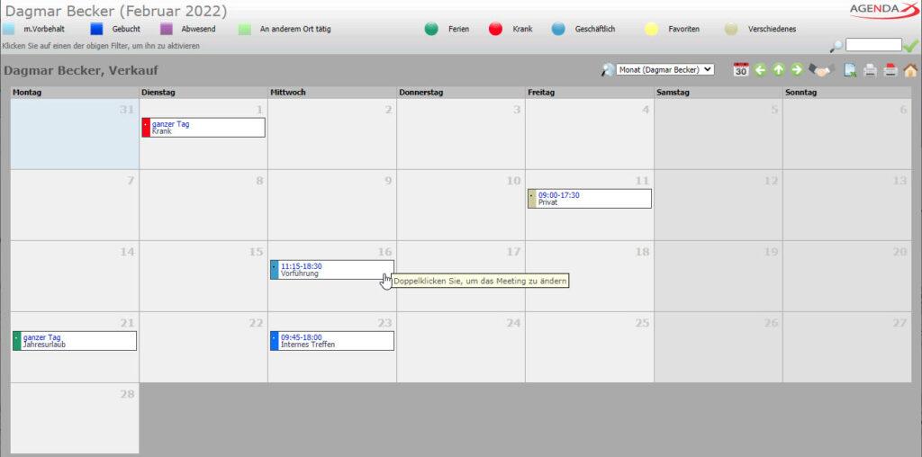 AgendaX Gruppenkalender Benutzerspezifische Monatsansicht zeigt Termine eines Monats eines einzelnen Mitarbeiters. Termin- Details werden in farbigen Textboxen angezeigt. Die Darstellung ähnelt einem Wandkalender.