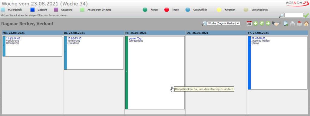 AgendaX Gruppenkalender Benutzerspezifische Wochenansicht zeigt die Wochen- Agenda eines einzelnen Mitarbeiters. Termin- Details werden in farbigen Textboxen dargestellt.