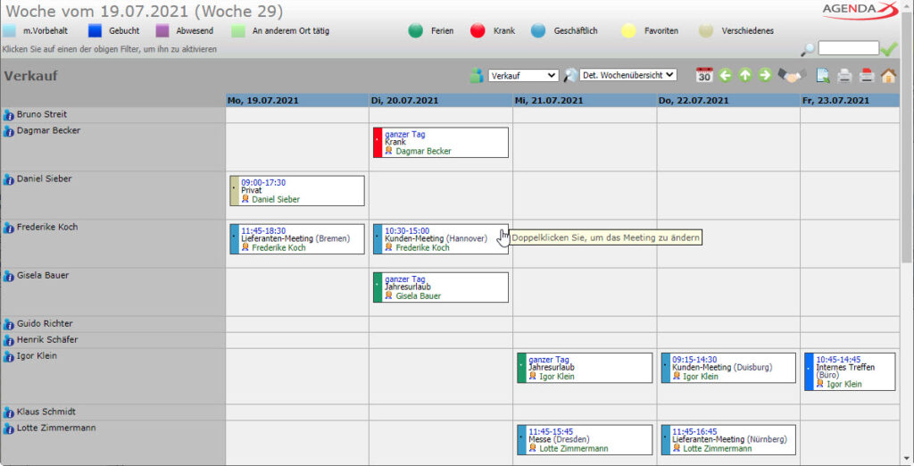 AgendaX Gruppenkalender Wochenansicht zeigt Termine in farbigen Boxen inkl. Termin- Details