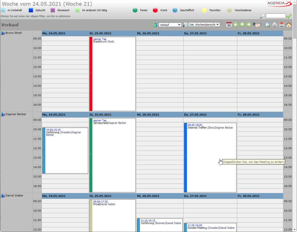 AgendaX Gruppenkalender Wochenansicht zeigt Termine mehrerer Mitarbeiter ähnlich wie Outlook an