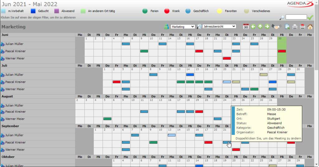 AgendaX Gruppenkalender Jahresansicht zeigt Termine als kleine farbige Blöcke. Tage eines Monats werden horizontal dargestellt, während Mitarbeiter, Ressourcen und Monate vertikal angeordnet sind.