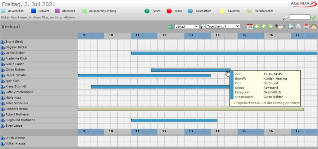AgendaX Gruppenkalender Tagesansicht zeigt Termine in farbigen Balken an