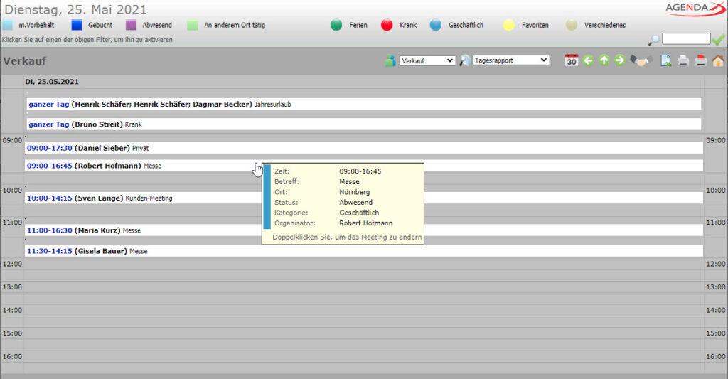 AgendaX Gruppenkalender Tagesrapport zeigt Termine vertikal nach Startzeit gruppiert