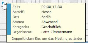 AgendaX Gruppenkalender Meeting- Details, die angezeigt werden, wenn man mit der Maus über einen Termin fährt