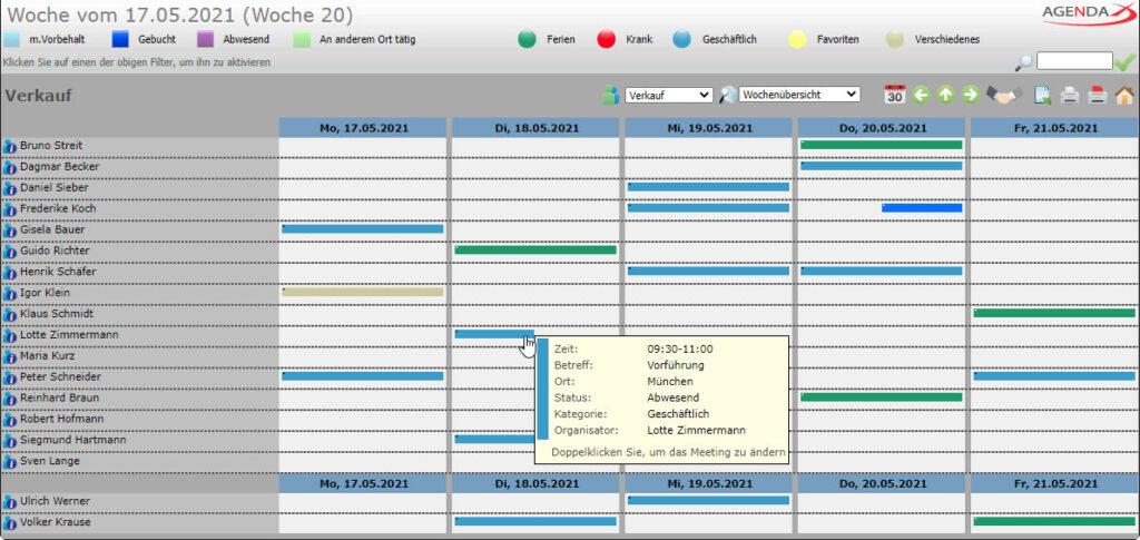 AgendaX Gruppenkalender Wochenansicht zeigt Verfügbarkeit der Mitarbeiter für halbe Tage (Morgen / Nachmittag)