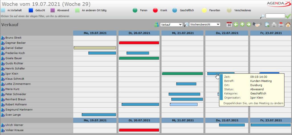 AgendaX Gruppenkalender Wochenansicht zeigt Termine mit farbigen Balken entsprechend der Terminlänge