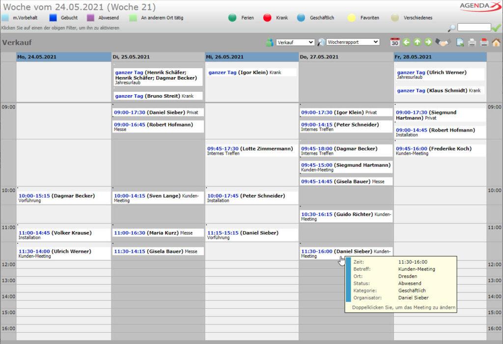 AgendaX Gruppenkalender Wochenrapport zeigt Termine mehrerer Mitarbeiter gruppiert nach Terminbeginn
